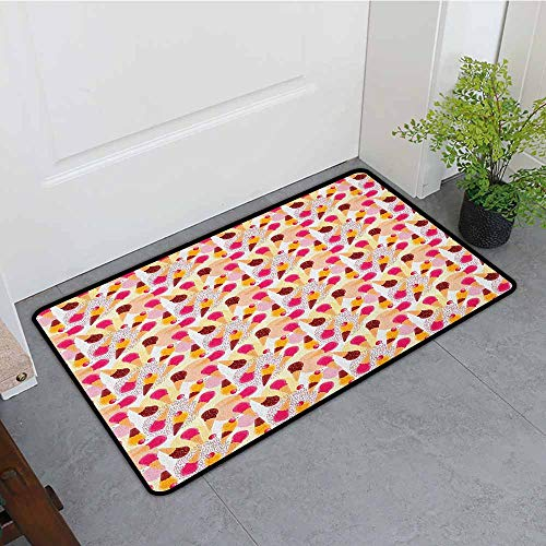 ONECUTE Rubber Doormat,Ice Cream Sweet Taste of Summer Theme Chocolate and Fruity Flavor Cherries Circle Sprinkles,for Outdoor and Indoor,24