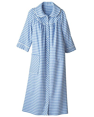 - National Long Yarn-Dyed Flannel Check Duster, Blue, Large