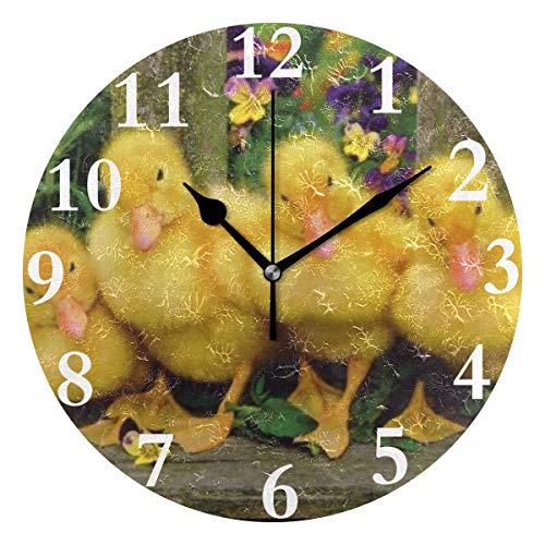 (HangWang Wall Clock Duck Family Photo Silent Non Ticking Decorative Round Digital Clocks for Home/Office/School Clock)