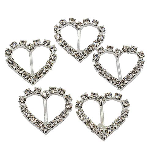 Crystal Heart Ribbon - Lkeran 35pc 21mm Heart Shaped Silver Crystal Clear Rhinestones Buckle Flatback Shiny Silver Buckles Invitation Card Wedding Ribbon Slider DIY Gift Box Crafts Hair Accessories Christmas Buckles