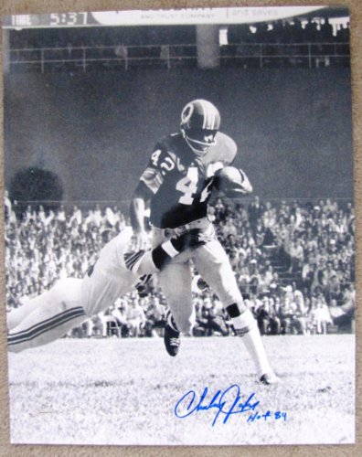 (Charley Taylor Autographed 16x20 B&W Photograph - Washington Redskins Hall of Fame Inscription)