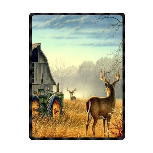 - Custom Unique Design cool old tractor and cute deer Super Soft Fleece Blanket 58