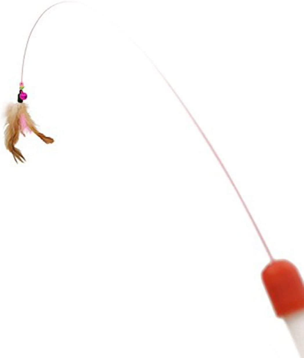 Caroline Philipson Metal Wire Funny Cat Stick Cat Toy Pet Toy With Feather Bells Funny Cat Pole Pet Supplies Fishing Chicken Hair Funny Cat Stick