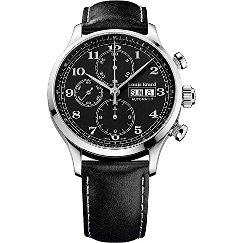 Louis Erard Men's 42mm Black Calfskin Band Steel Case Automatic Analog Watch 78225AA22.BVA02