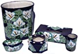 Lily Flower Talavera Ceramic Bathroom Set
