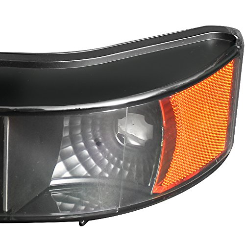 Xtune for 1992-1996 Ford F150//F250 Bronco Black Headlights Set Mystery Black Tail Lights 1993 1994 1995