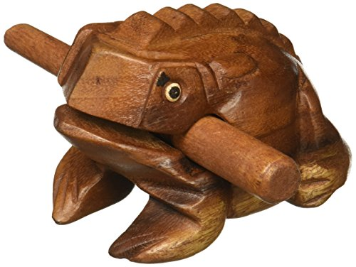 "Deluxe Medium 4"" Wood Frog Guiro Rasp - Musical Instrument Tone Block - from World Percussion USA only"