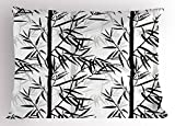 Lunarable Bamboo Pillow Sham, Abstract Forest Leaves Floral Chinese Garden Plants Zen Spa Summer, Decorative Standard Size Printed Pillowcase, 26 X 20 inches, Black Charcoal Grey White