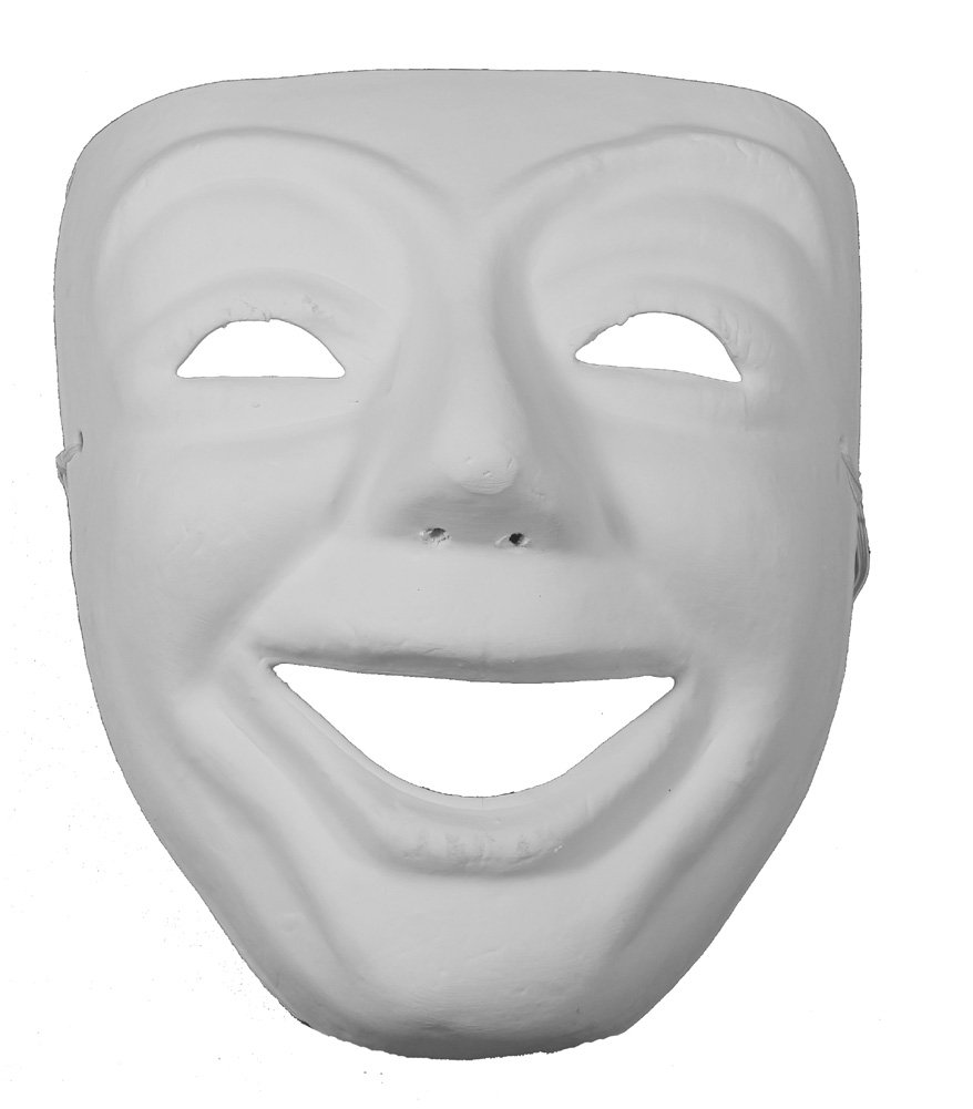 RedSkyTrader Mens Comedy Mask Arts and Craft Mask One Size Fits Most White