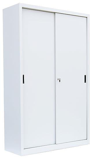 Lüllmann 550150 – Mueble archivador con puerta corredera Aparador de acero Señal Blanco 1950 x 1200