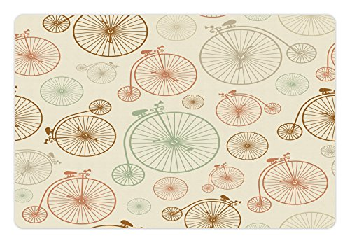 Vintage Pet Mats for Food and Water by Lunarable, Vintage Bicycles with Antique Wheels Indie Backdrop Classical Design Illustration, Rectangle Non-Slip Rubber Mat for Dogs and Cats, Cream - Vintage Indie