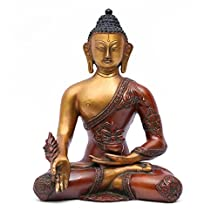 """Aone India 11"""" Large Ashtmangal Medicine Tibetan Buddha Statue Hand Carved Brass Scuulpture + Cash Envelope (Pack Of 10)"""
