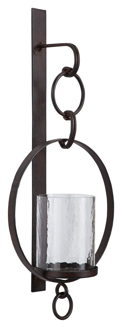 Ashley Furniture Signature Design - Ogaleesha Chain Link Wall Sconce - Metal & Clear Glass - Brown