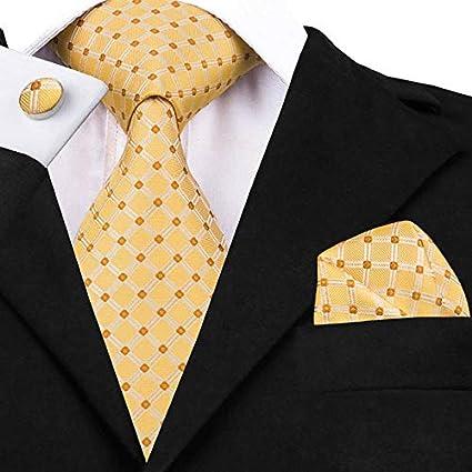 Gold Floral Mens 100/% Silk Neckties Tie+Hanky+Cufflinks Sets Drop Shipping