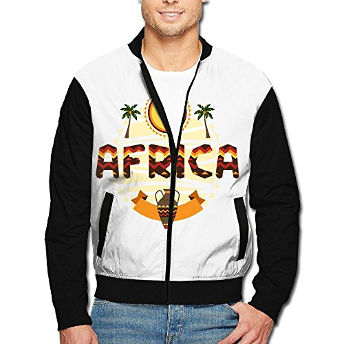 Simoner Africa Culture Men's Hip Hop Long Sleeve Full Zip up Jacket Lightweight Jackets Coat with Pockets for Youth Boys by Simoner