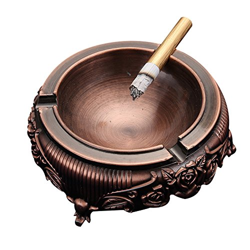 Leoyoubei Cigarette Ashtray for Outdoors and Indoors Use - Vintage Feel Zinc alloy Portable Christmas Holiday Home Decor Tabletop Ash tray for Smokers - Nice Gift for Men and Women - wine red