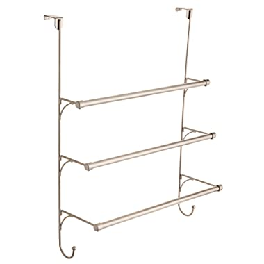 Franklin Brass 193153-FN Over the Door Triple Towel Rack with Hooks, Flat Nickel