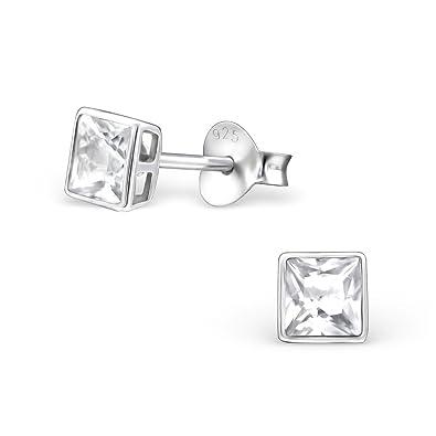 aea82f33775de Amazon.com: Diamond Wish Sterling Silver Princess-cut Genuine White ...