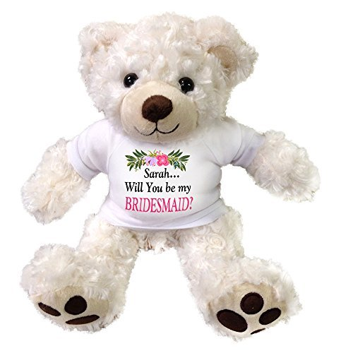 Personalized Teddy Bear for Bridesmaid, Maid of Honor or Flower (Flower Girl Teddy Bear)