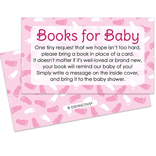 Books for Baby Request Cards - Girl Baby Shower Invitation Inserts (20 Count)