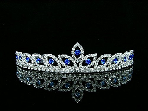 Peacock Eye Bridal Wedding Prom Tiara Crown - Blue crystal silver plated T421