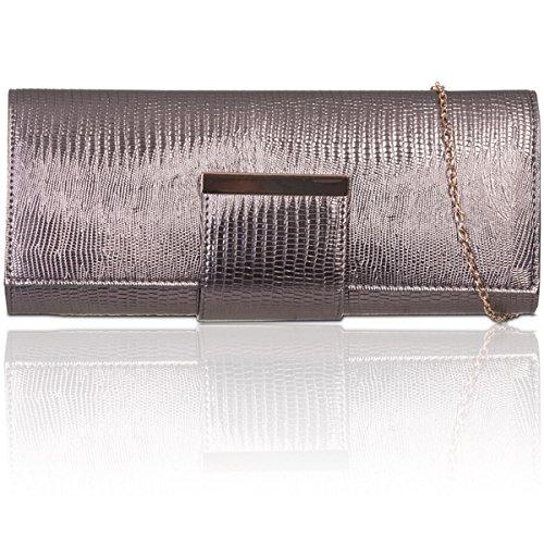 Xardi UK donne in ecopelle borsa designer Style clutch da sera Prom francese Grey