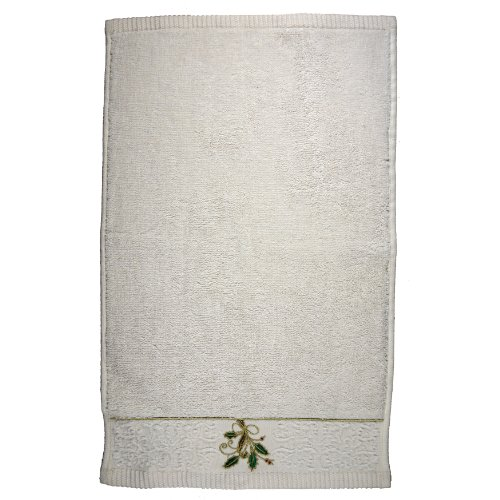 (Lenox Ribbon and Holly Embroidered Fingertip Towel,)