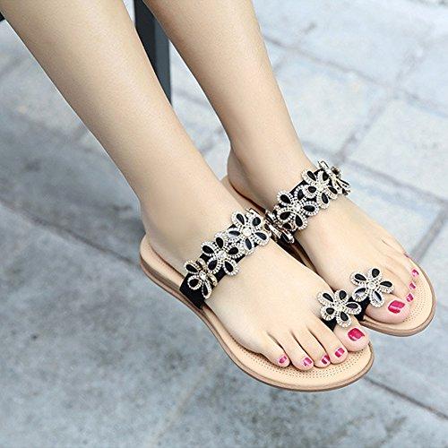 Minetom Mujer Verano Casual Bohemia Abalorios Diamantes De Imitación Sandalias Chanclas Flor De Los Granos Zapatos Planos Negro