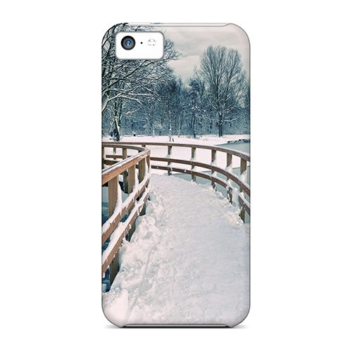 (QNbNTCx7403HPojj Tpu Phone Case With Fashionable Look For Iphone 5c - S Shaped Wooden Bridge In Winter )