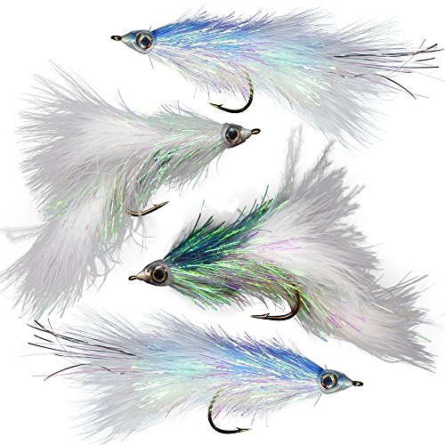 Shumaker's Shimmering Minnow Articulated Streamer Assortment | Size 2/0 Fly Fishing for Trout Bass Pike | 4 Flies