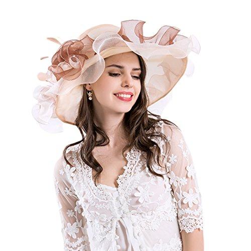Harmony Life Women Foldable Organza Church Derby Hat Ruffles Wide Brim Summer Bridal Cap for Wedding Tea Party (Womens Fashion Derby)