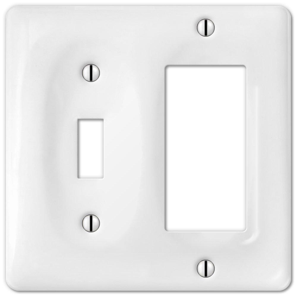 1 Toggle 1 Rocker Wallplate in White Ceramic Allena 3020TRW