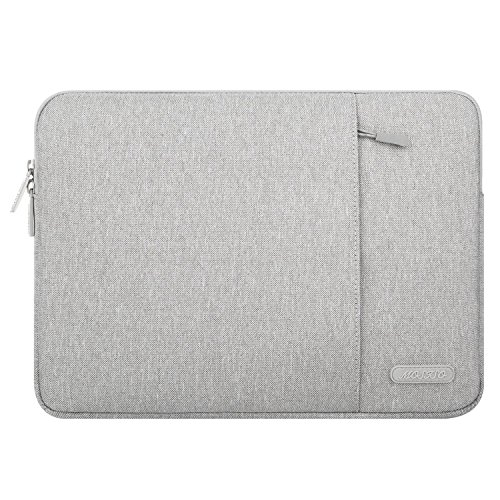 MOSISO Laptop Sleeve Bag Compatible with 15-15.4 Inch Old Version MacBook Pro Retina, Microsoft Surface Book 2, Vertical Style Water Repellent Polyester Case Cover with Accessory Pockets, Gray