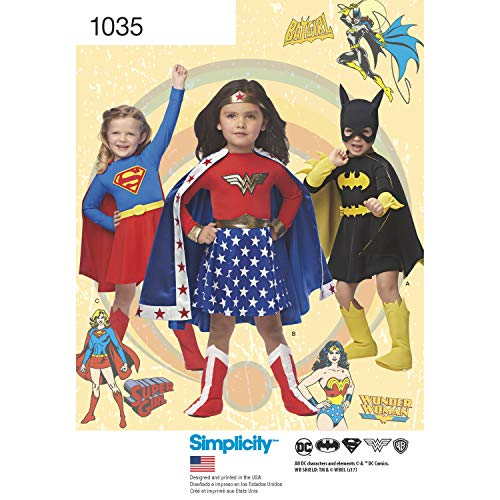 Simplicity Sewing Pattern D0969 / 1035 - Wonder Woman, Supergirl & Batgirl Costumes, Size: A (3-4-5-6-7-8) -