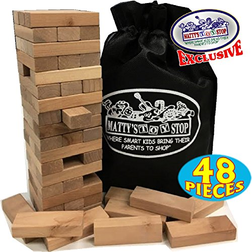 Wooden Tower Deluxe Stacking Game with Exclusive