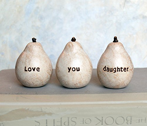 - Love you daughter pears, child little girl gift idea, hand stamped clay pears