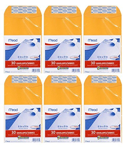 "Mead Press-It Seal-It 6"" X 9"" Envelopes, Office Pack, 30 per pack, 6 Pack = Total 180 Envelopes"