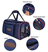 Large Pet Carrier, Legendog Soft Sided Airline Pet Carrier for Medium and Large Dogs Cats (Seatbelt Strap and Anti-escape Zipper)
