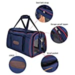 Soft Sided Pet Carrier, Legendog Large Durable Canvas Airline Approved Pet Carrier for Small Dogs and Cats [Seat Belt Strap and Escape-Proof Zipper]