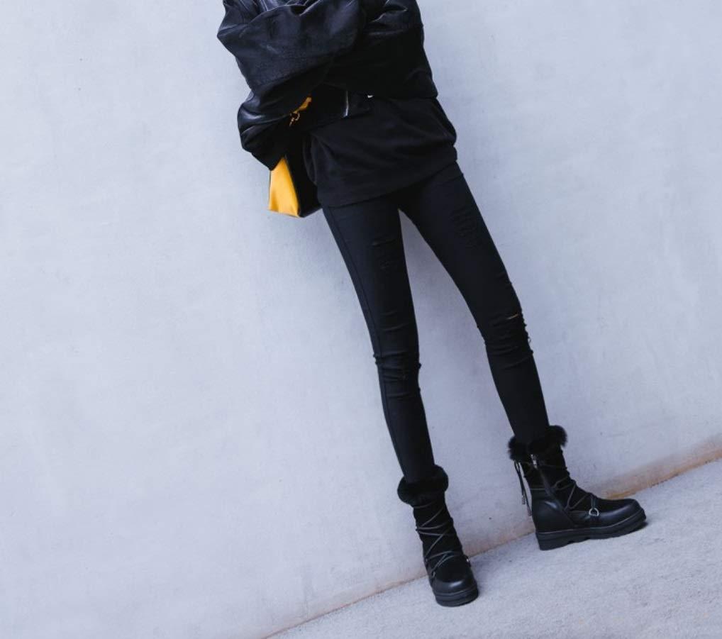 SHANGWU Damen-Damen-Kalb-Biker-Stiefel , Schnürstiefeletten aus Leder Fleece gefüttert Schnee Winter Winter Winter wasserdicht wandern Durable Stiefeletten Pelz EIN Schnee Stiefel d64c22
