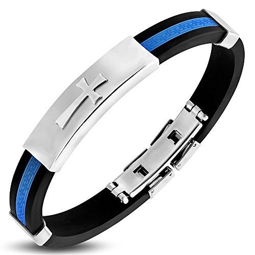 Greek Style Cross - My Daily Styles Stainless Steel Black Blue Rubber Greek Key Cross Mens Bracelet, 8