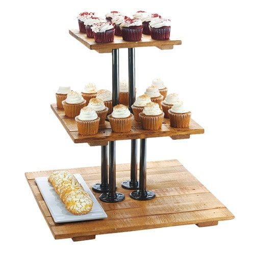 Cal-Mil 3428-99 3 Tier Riser Display, 20'' Height, 20.75'' Width, 20.75'' Length, Reclaimed Wood, Madera by Cal Mil