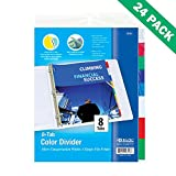 Three Ring Binder Dividers, 24 Unit Pack of Bazic Insertable Dividers Binder