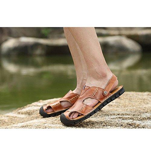 la Black per traspiranti in da uomo adatti Brown per Color Reddish all'aperto al 41 spiaggia antiscivolo e EU Sandali 3 Size sandali 1 tempo regolabili sandali il coperto libero pelle WBqvwxnXz