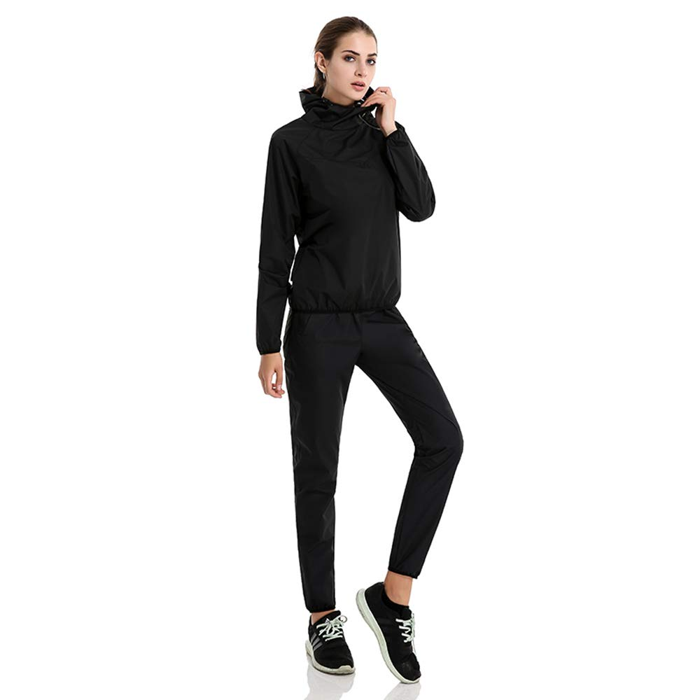 Lazysuit Sauna Suit Women Fitness Weight Loss Clothes (Black, Small)
