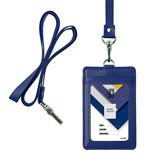 - Indressme 2-Sided Vertical Genuine Leather ID Badge Holder with Lanyard