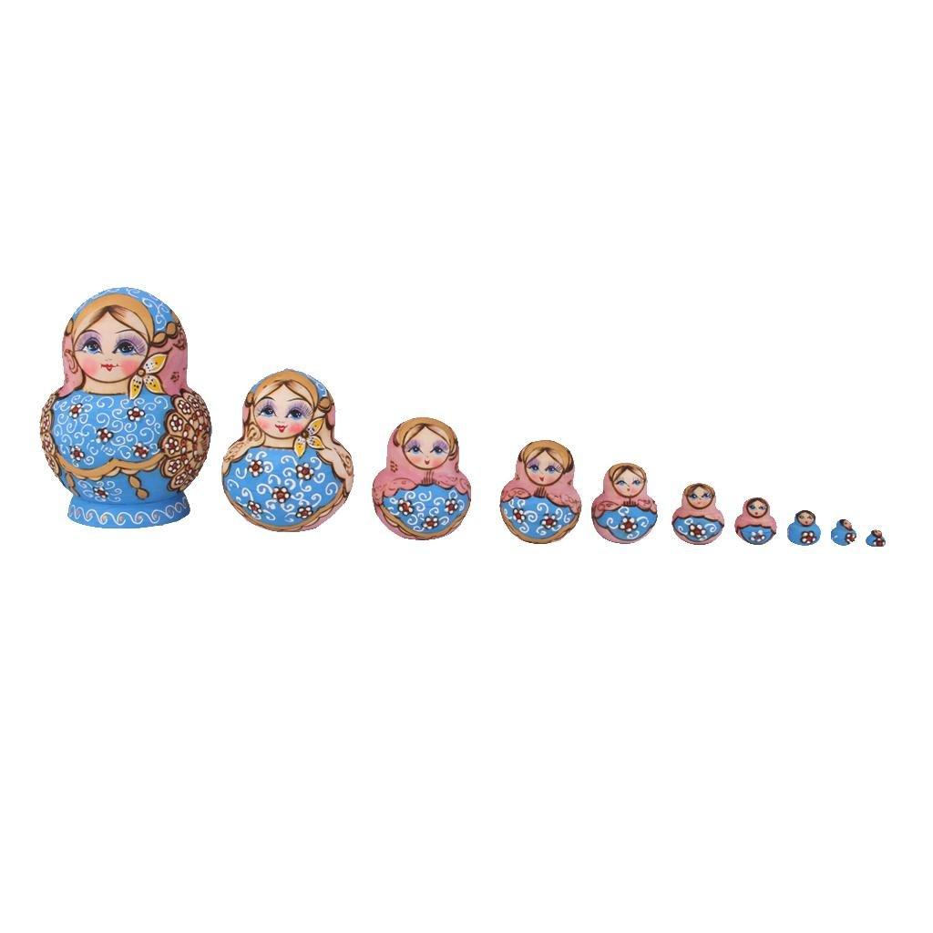 10pcs Muñecas de Anidación Rusa Matrioska Pintada a Mano Madera Oro Azul MagiDeal