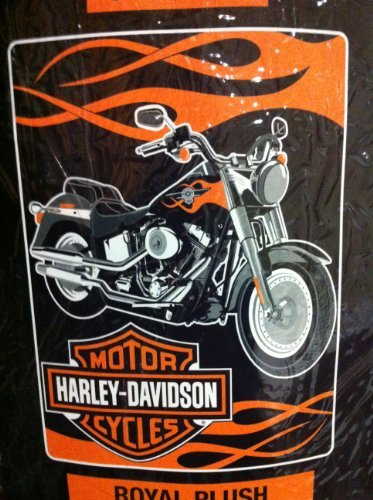 (Harley Davidson Fat Boy Plush Super Plush Throw Blanket Twin)