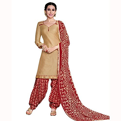 Parisha Latest Collotion of Patiyala Suits in Glaze Cotton Fabric & in attractive Beige Color