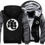 Poetic Walk Anime Dragon Ball Z Son Goku Thicken Jacket Fleece Winter Hoodie (Large, Black&Gray)